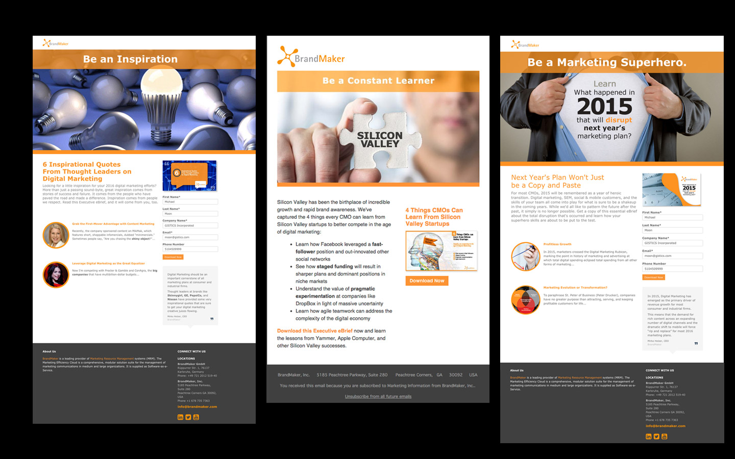<p>Email and landing page designs for each e-brief in the campaign.</p>