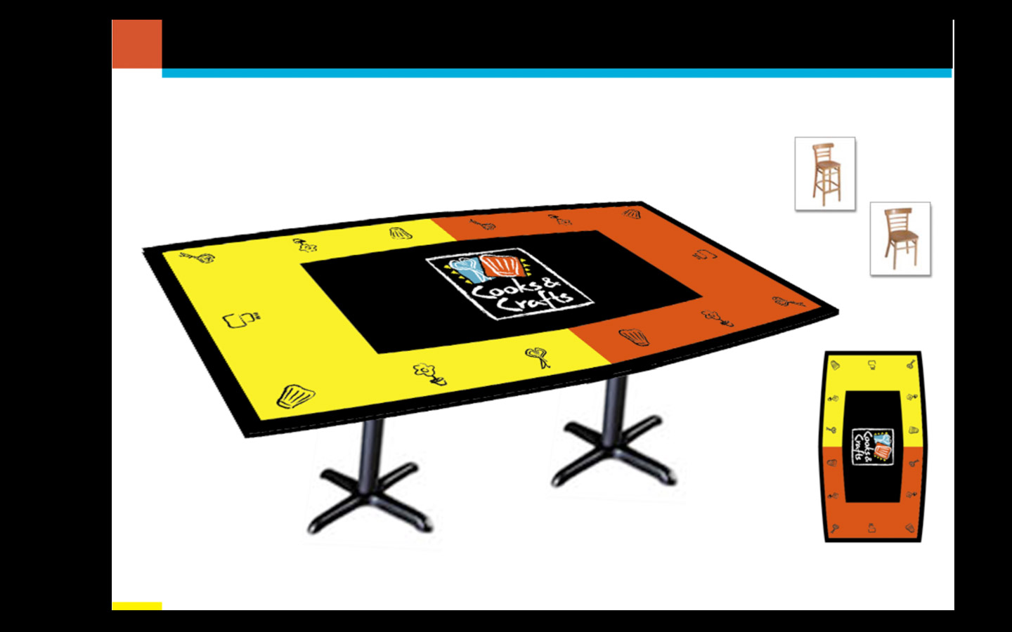 <p>Store Look and Feel: retail branded tables</p>