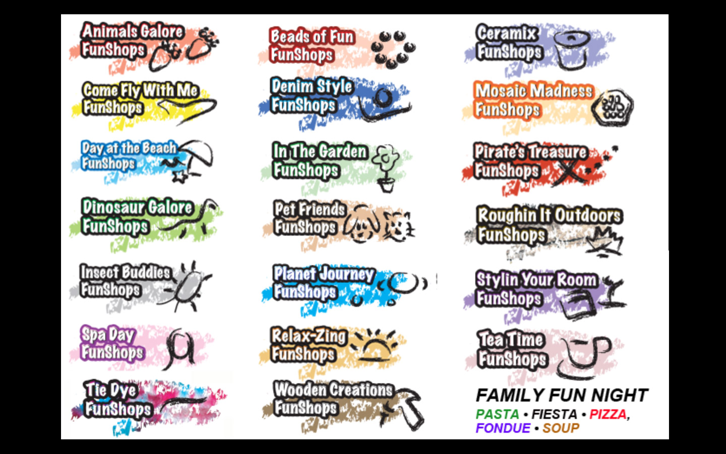 <p>Funshops classes and party themes: naming and branding</p>