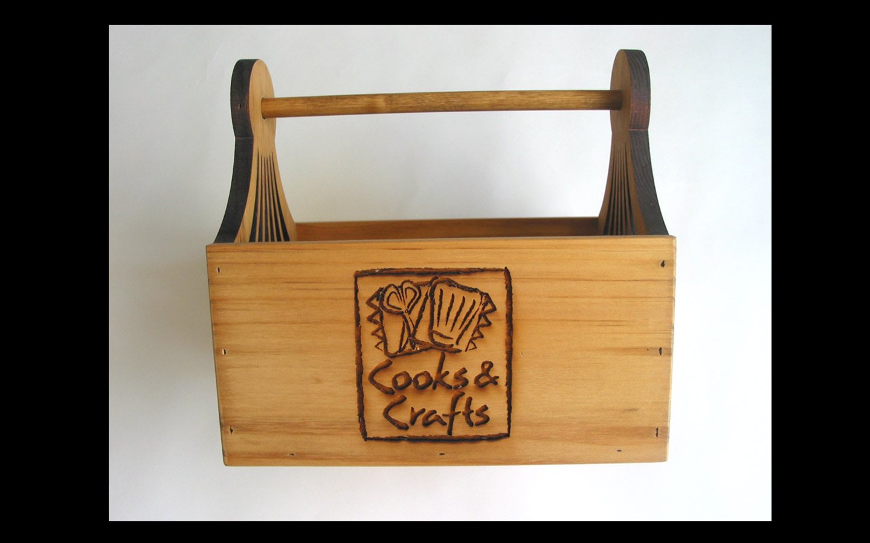 <p>Laser-engraved gift basket bases</p>